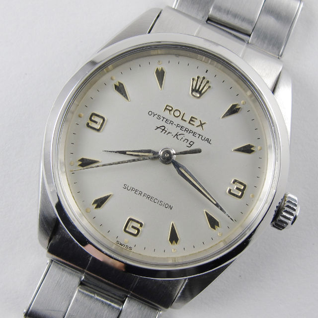 Steel Rolex Oyster Perpetual Air-King Super Precision Ref. 5500 vintage wristwatch, dated 1964