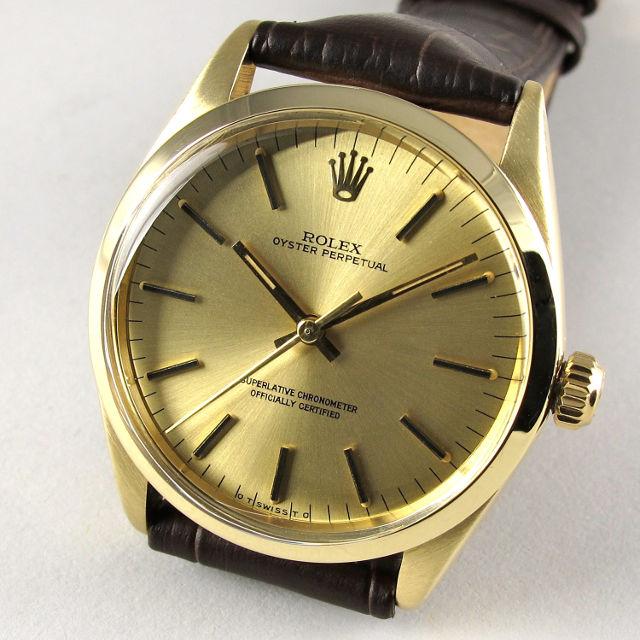 Rolex Oyster Perpetual Chronometer Ref. 1002 14k gold vintage wristwatch, hallmarked 1975