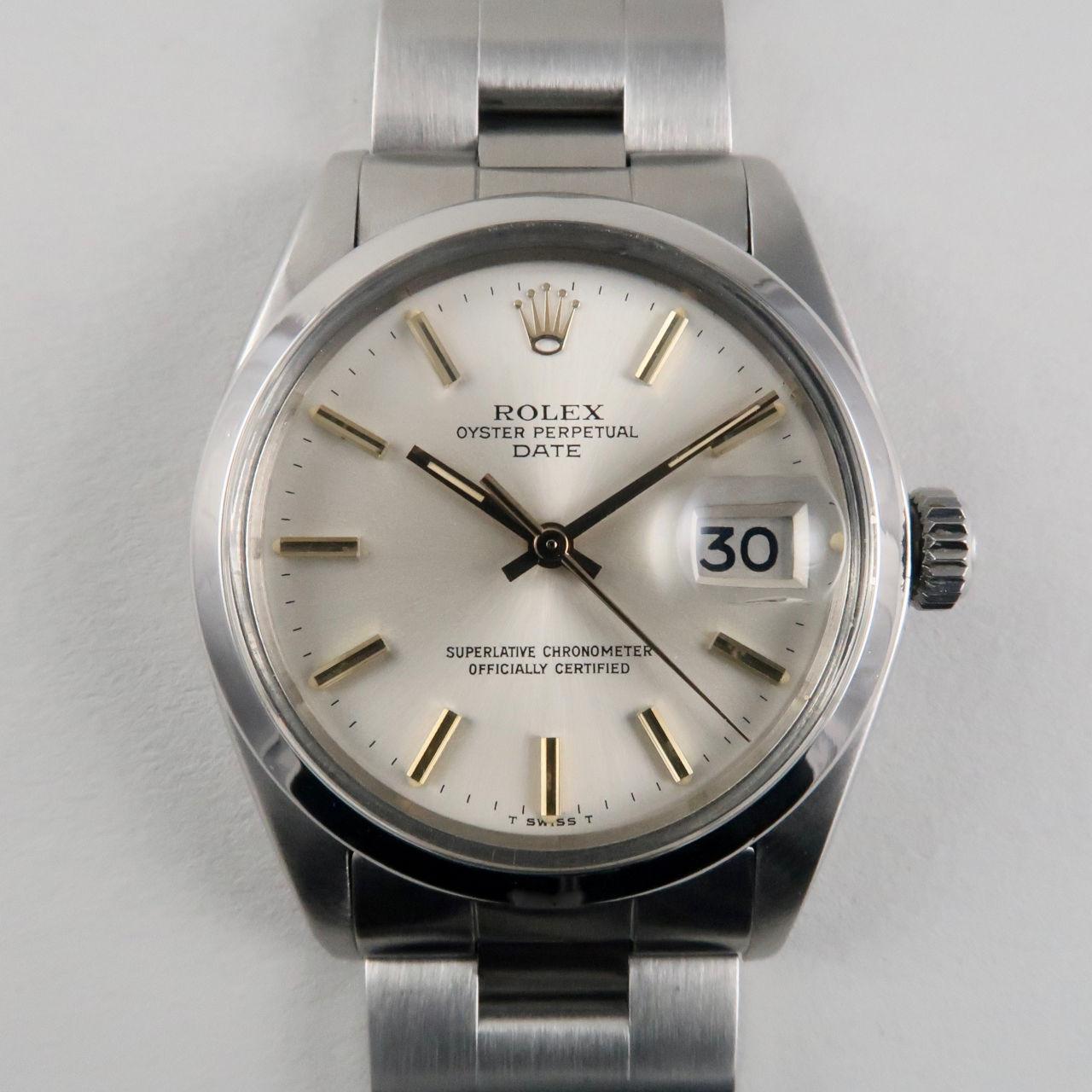 Rolex Oyster Perpetual Date Ref.1500 steel vintage wristwatch, circa 1974