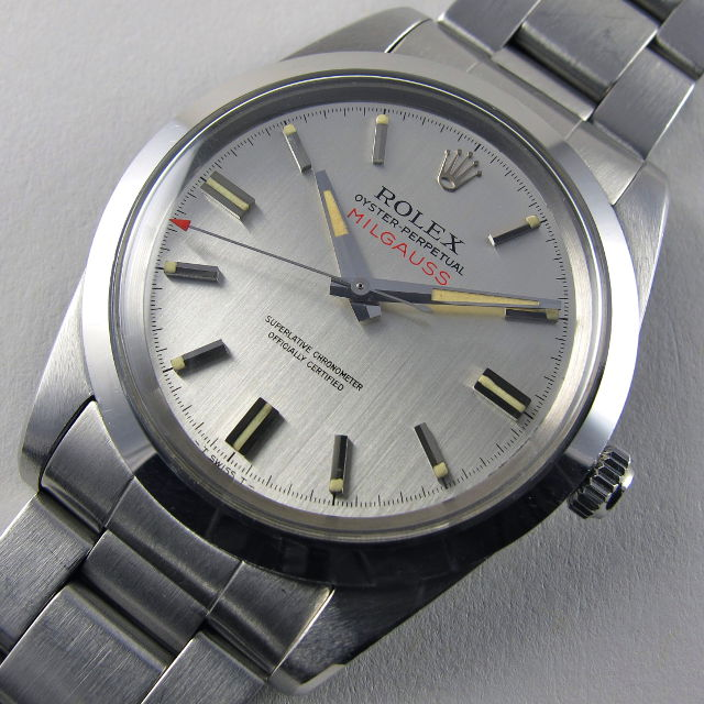 Steel Rolex Oyster Perpetual Milgauss Chronometer Ref. 1019 vintage wristwatch, dated 1970