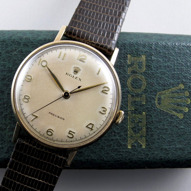 Rolex Precision gold vintage wristwatch, hallmarked 1954