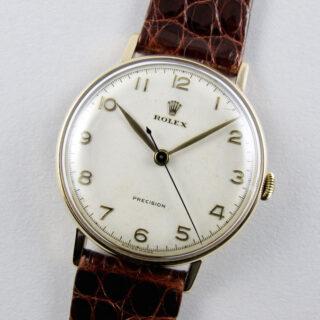Rolex Precision gold vintage wristwatch, hallmarked 1956
