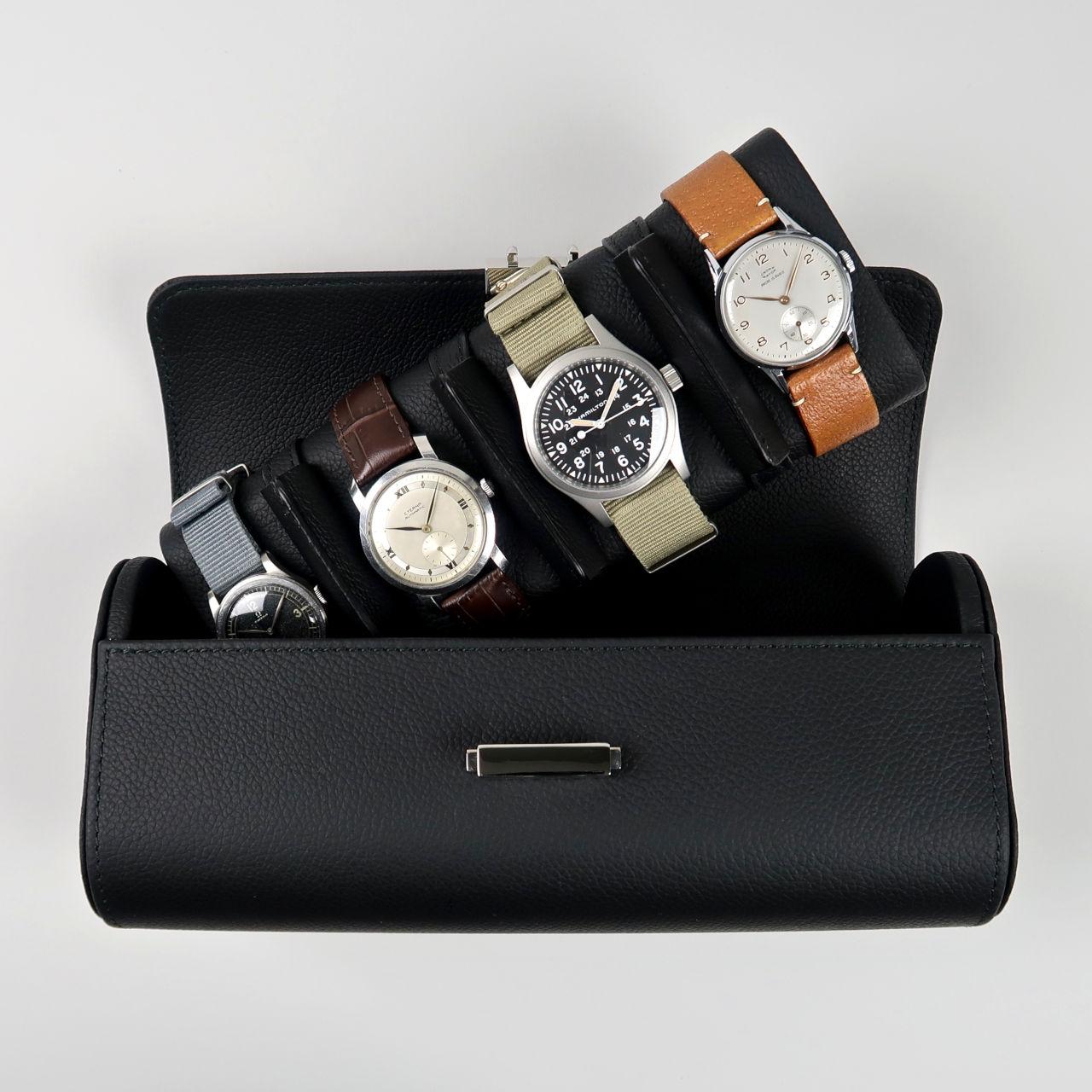 Scatola del Tempo Pochette | leather travel case for 4 watches
