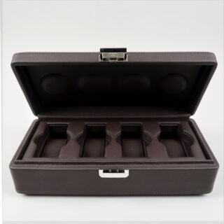 Scatola del Tempo Valigetta 4   chocolate brown leather case for four watches