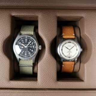 Scatola del Tempo Valigetta 4 | taupe leather case for four watches