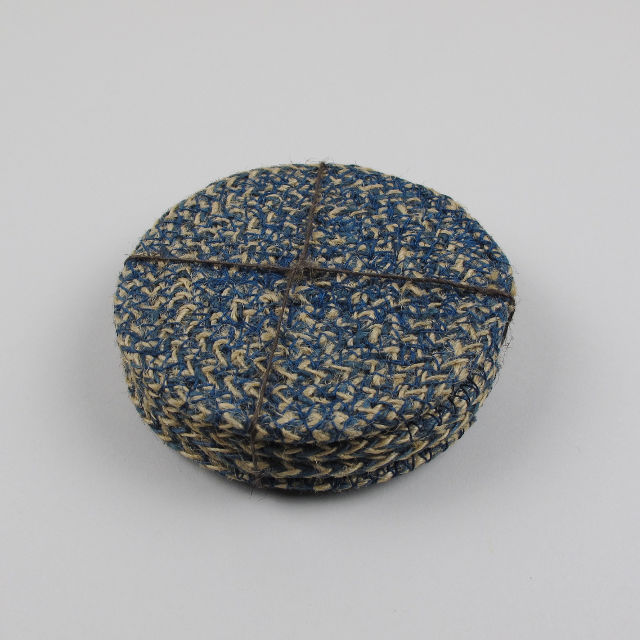 Set Of 4 Woven Jute Coasters Cornflower Blue Black