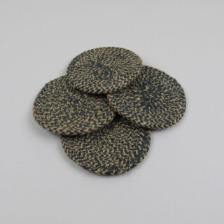 Set of 4 Woven Jute Coasters - Olive Green
