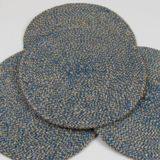 Set of 4 Woven Jute Placemats - Cornflower blue