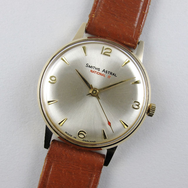 Smiths Astral National 17 gold vintage wristwatch, hallmarked 1965