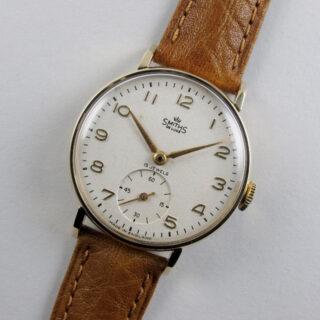Smiths De Luxe Ref. A501 gold vintage wristwatch, hallmarked 1958