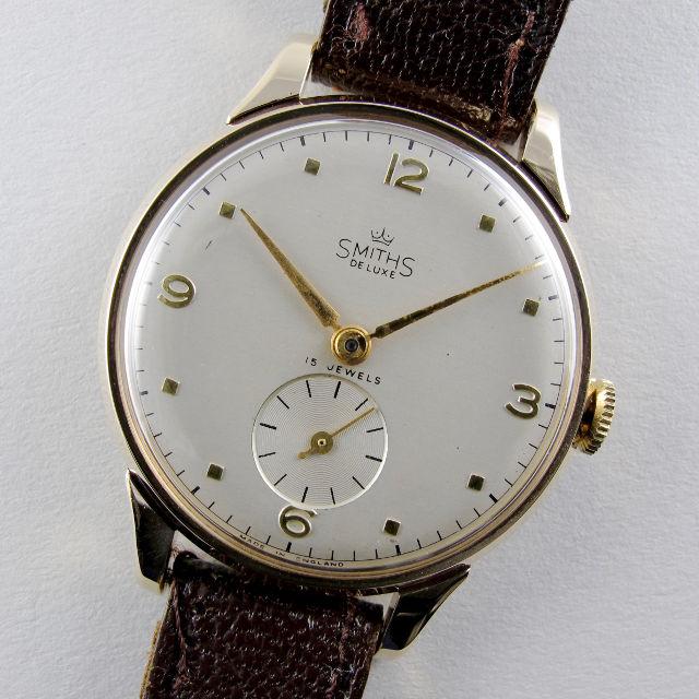 Smiths De Luxe Ref. A526 gold vintage wristwatch, hallmarked 1955