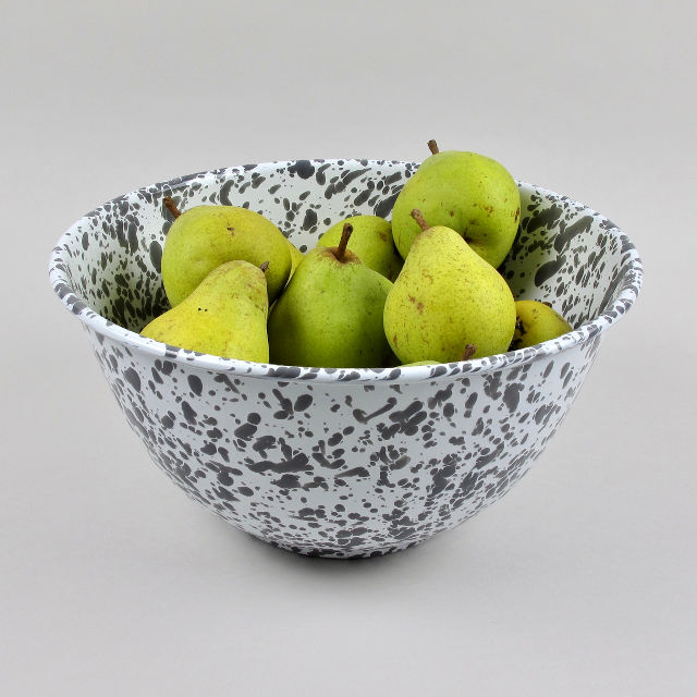 Enamel Splatterware - Large Salad Bowl - Grey