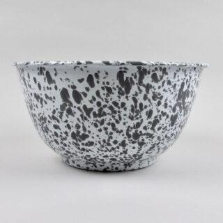 Enamel Splatterware - Large Salad Bowl - Grey