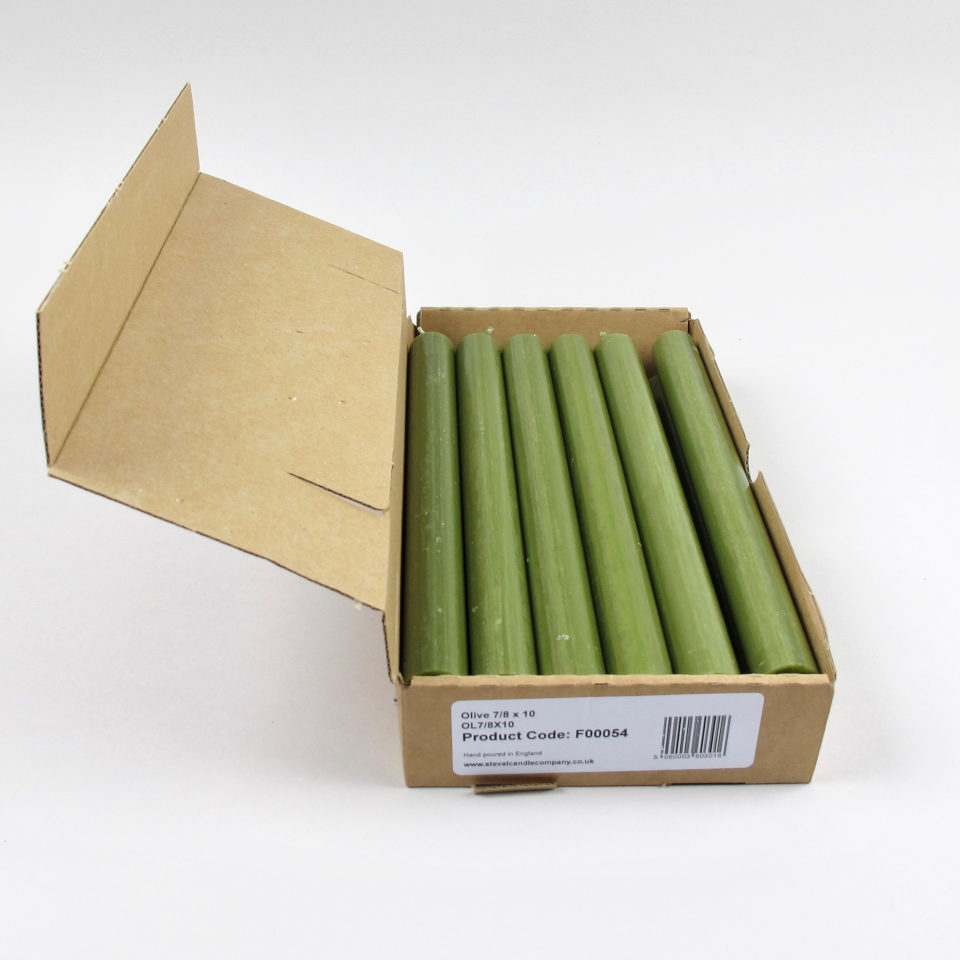 Box of 12 Candles - Olive