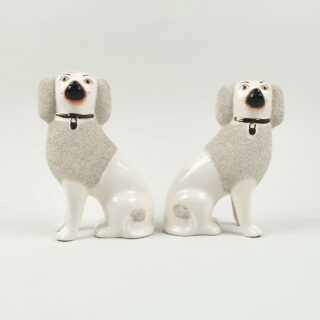Pair of Textured Staffordshire Seated Dogs