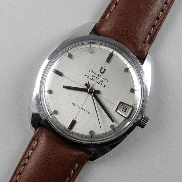 "Steel Universal Genève Polerouter ""NS"" vintage wristwatch, circa 1964"