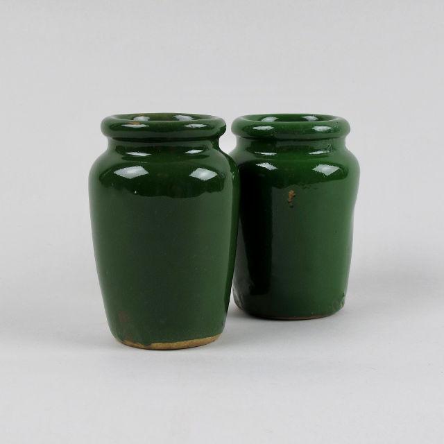 Small Green Stoneware Cream Jar