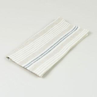 Oatmeal Navy Multi Stripe 100% Linen Napkins - handmade in Ludlow