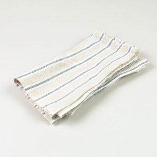 Oatmeal Navy Stripe 100% Linen Napkins - handmade in Ludlow