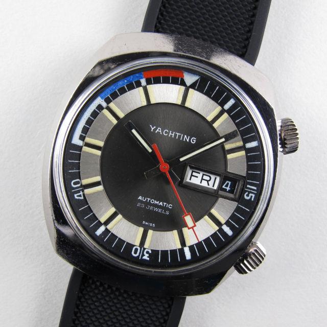 Swiss ETA Yachting chrome and steel vintage wristwatch, circa 1975