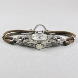 Swiss platinum and diamond-set cocktail watch, circa 1940