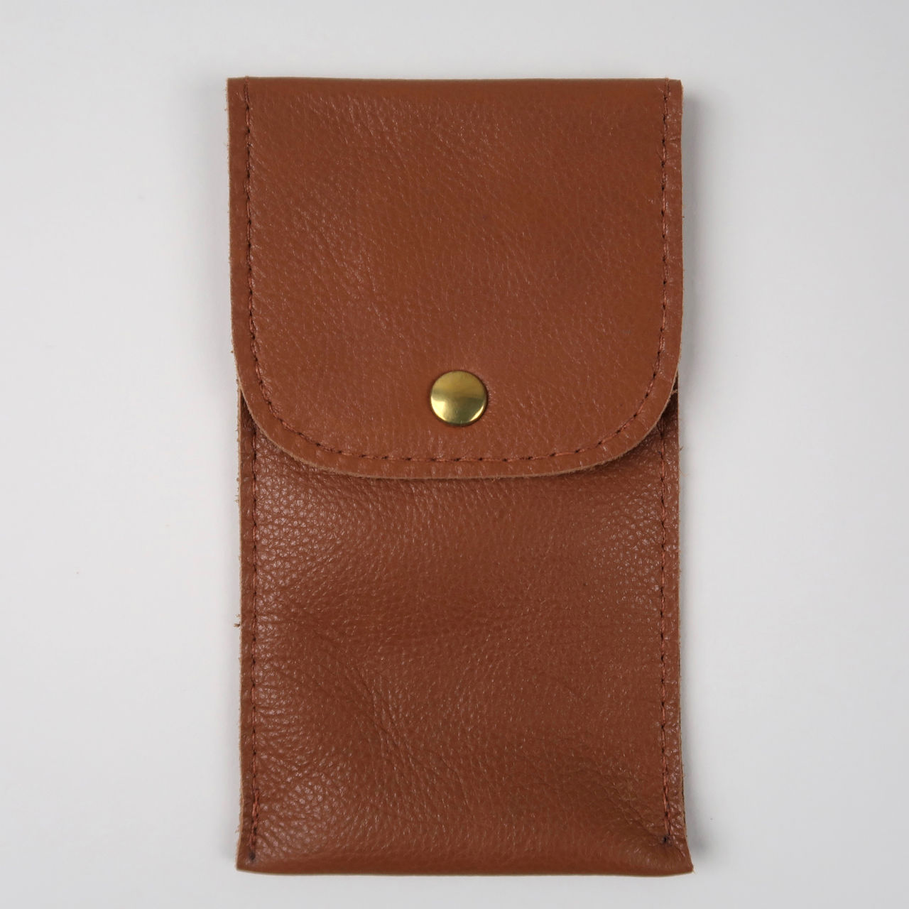 Tan leather wristwatch pouch