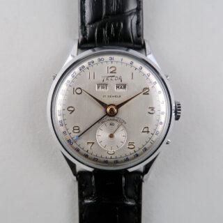Telda circa 1950   chrome & steel triple calendar wristwatch