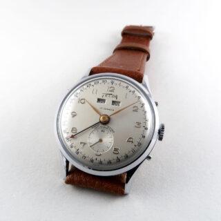 Telda circa 1950 | chrome & steel triple calendar vintage wristwatch