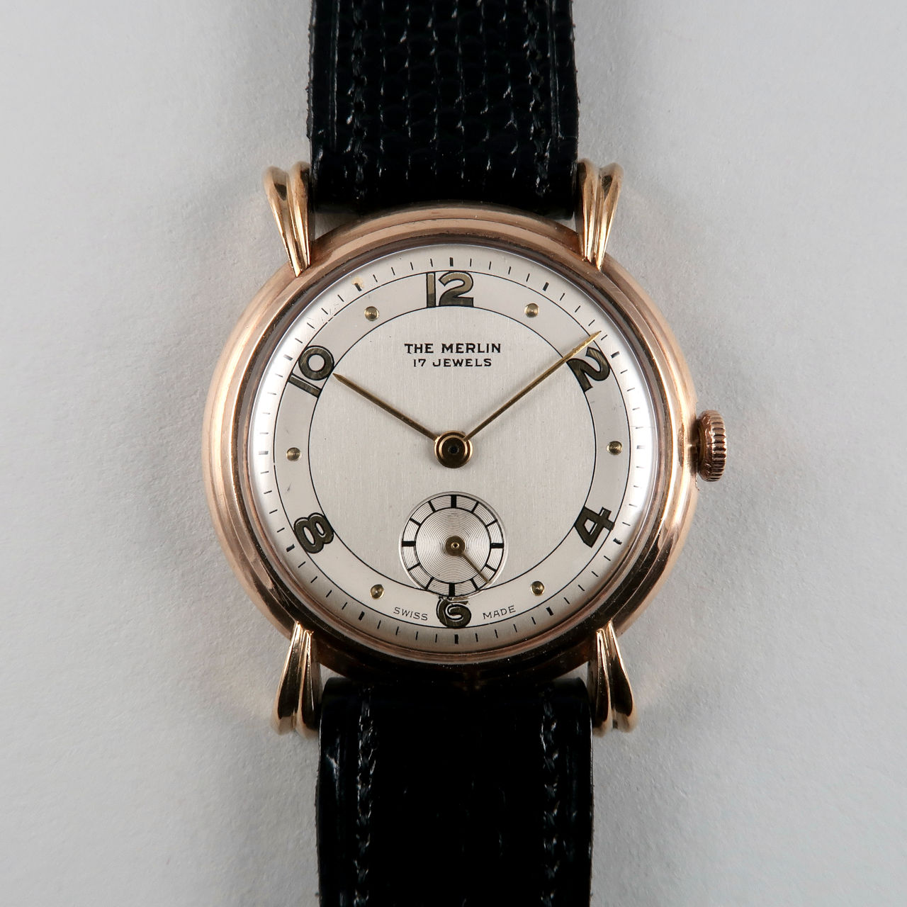 The Merlin hallmarked 1947   9ct gold hand wound vintage wristwatch