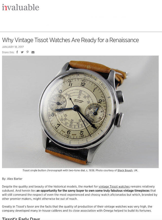tissot article for invaluable 2