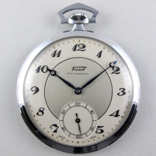 Tissot cal. 40.5 nickel chrome vintage pocket watch, circa 1935