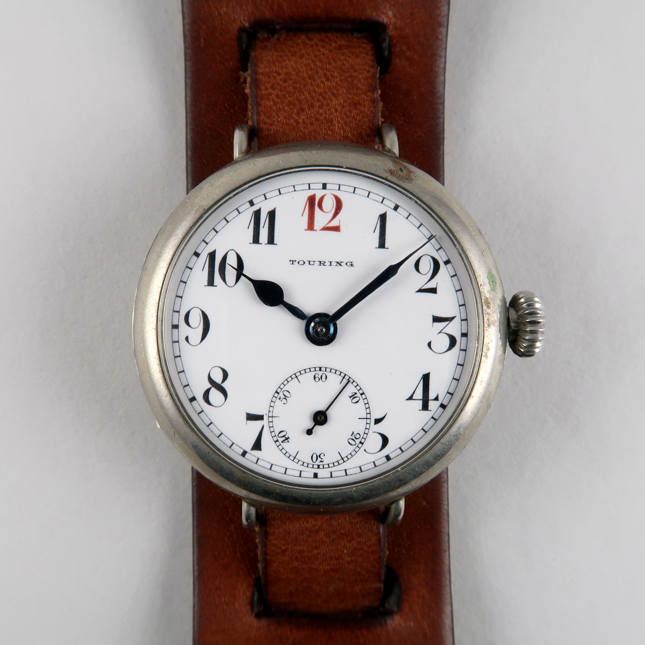 Touring circa 1915 | nickel hinged cased manual wind vintage wristwatch