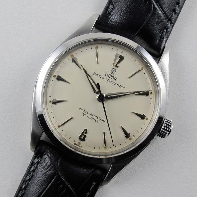 "Steel Tudor / Rolex Oyster ""Elegante"" Ref. 7960 vintage wristwatch, dated 1958"