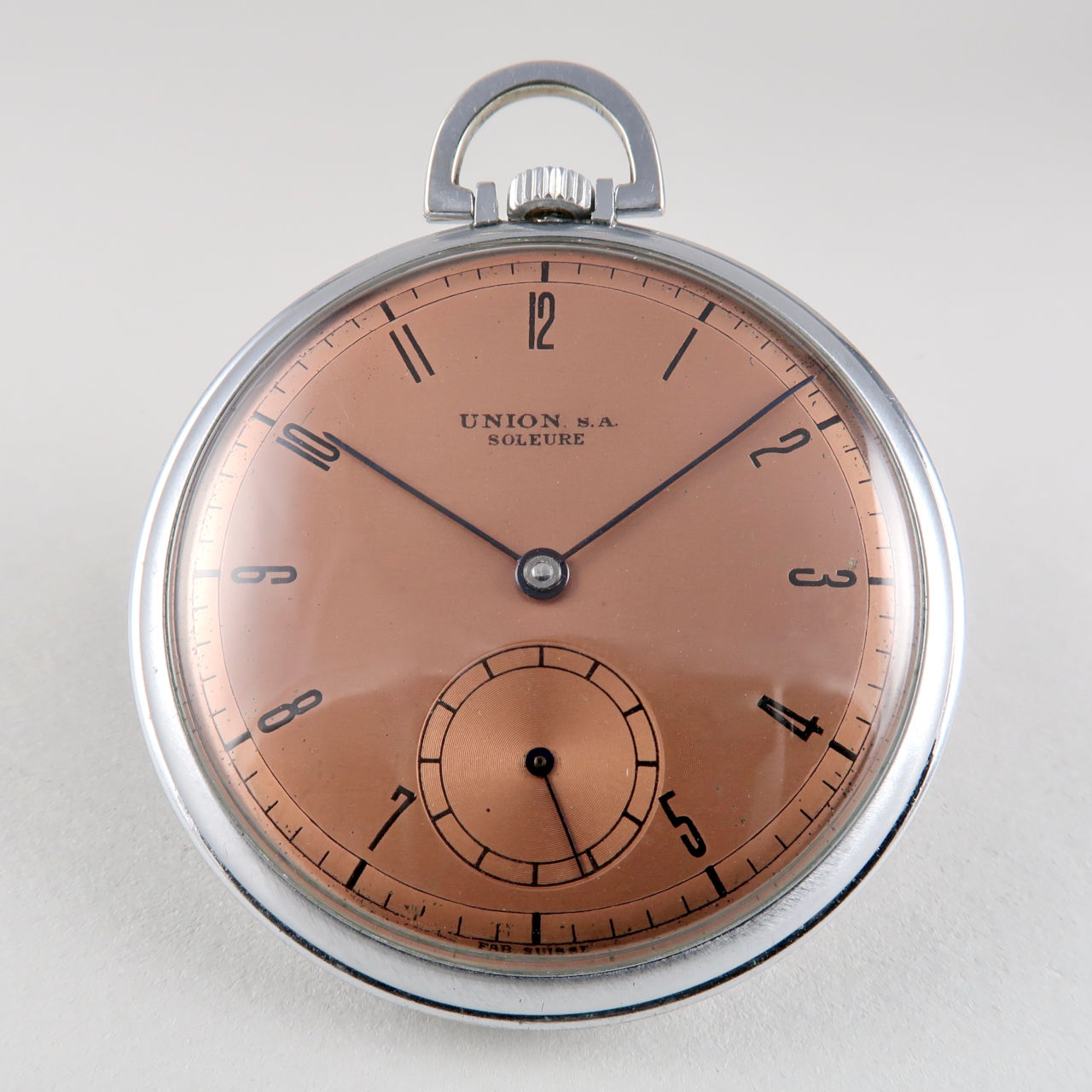 Union circa 1940 nickel chrome open-faced pocket watch