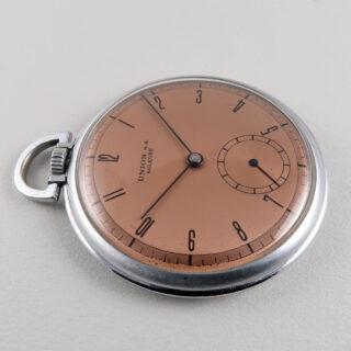 Union circa 1940   nickel-chrome open-faced pocket watch