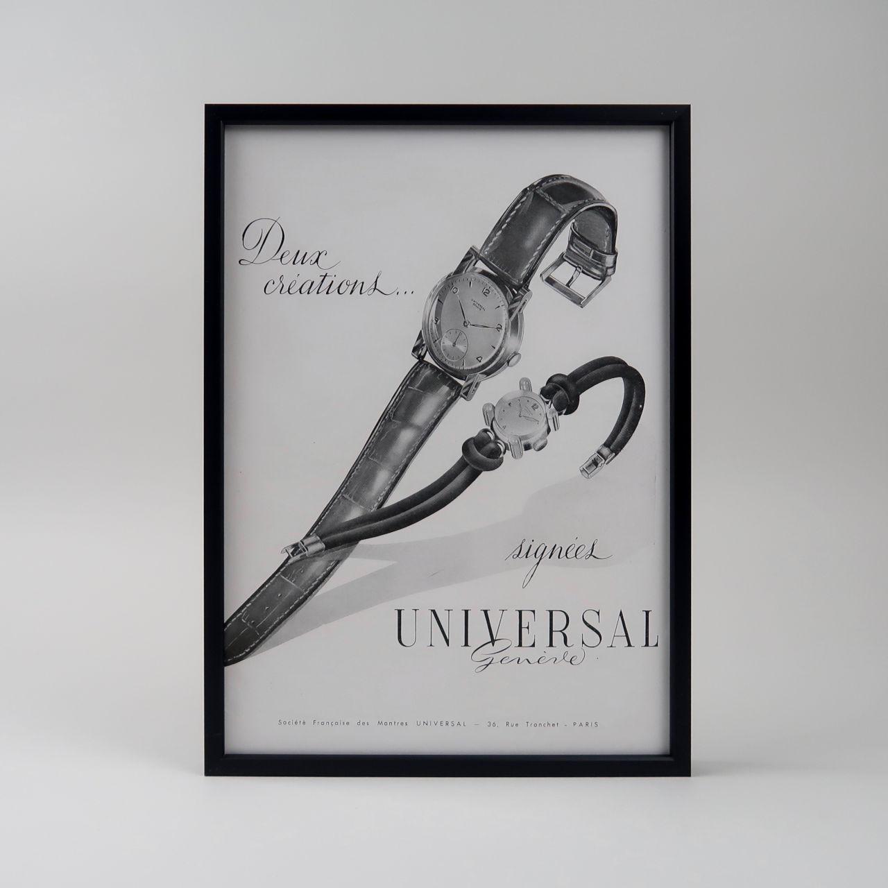 Universal Genève vintage framed advertisement, 1950