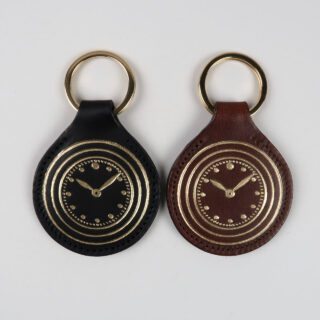 Black Bough Leather Vintage Watch Keyring with Gold Foil