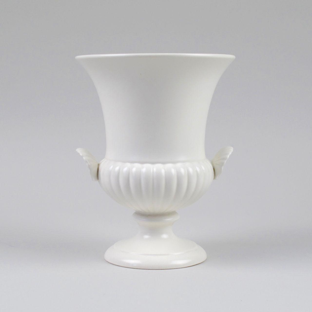 Wedgwood Ribbed White Campana Vase
