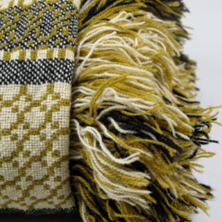 welsh blanket mustard black white 08