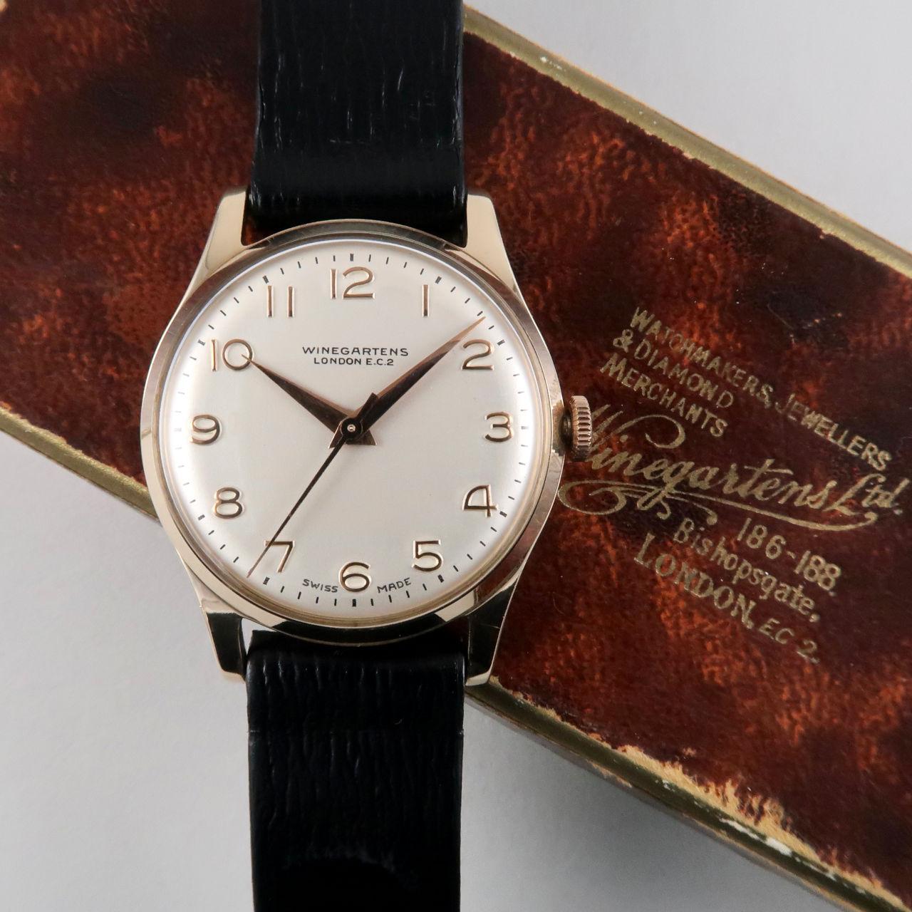 Winegartens London gold vintage wristwatch, hallmarked 1960