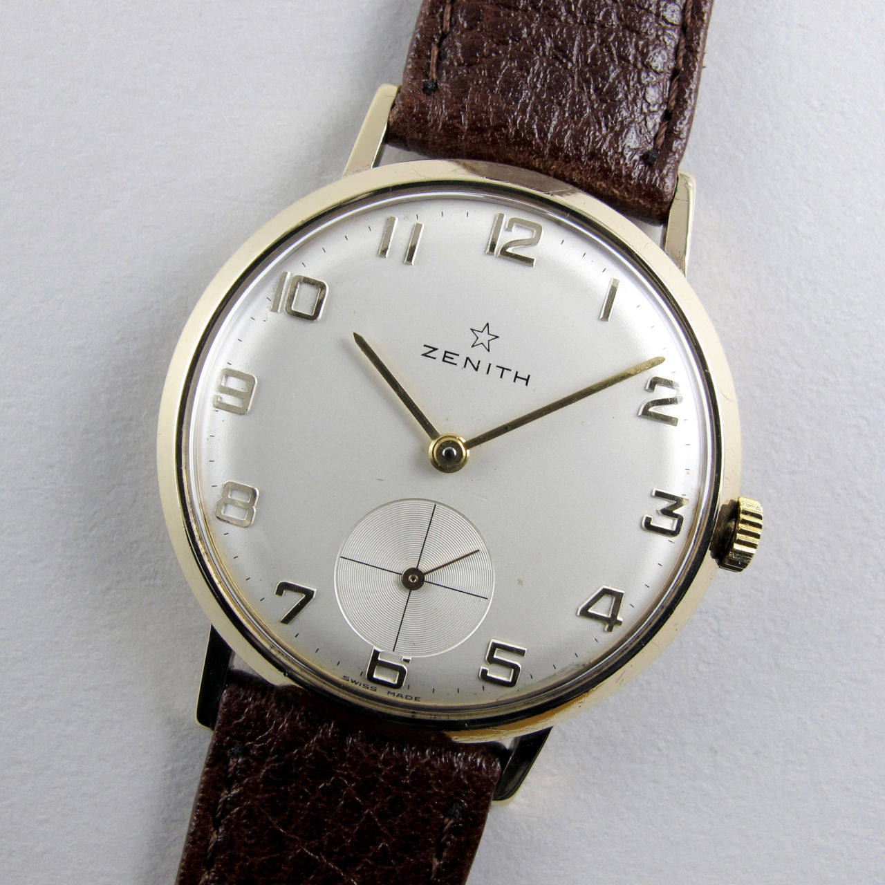Zenith gold vintage wristwatch, hallmarked 1965