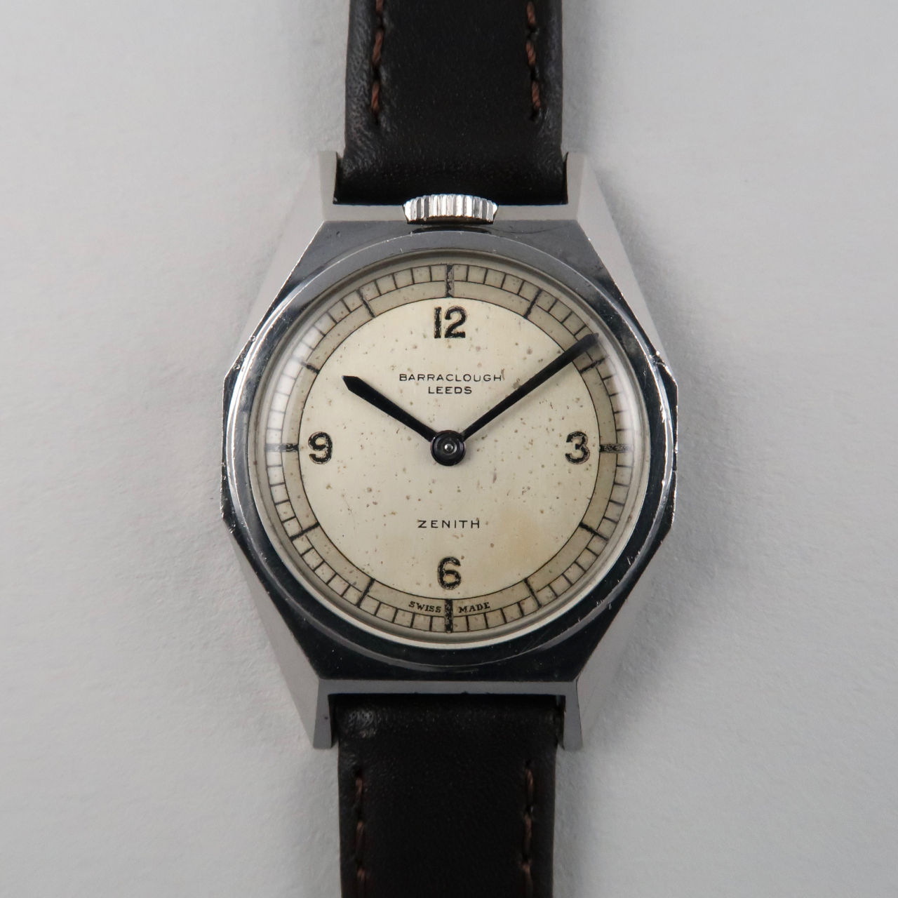 Zenith retailed by Barraclough, Leeds, steel vintage wristwatch, circa 1935