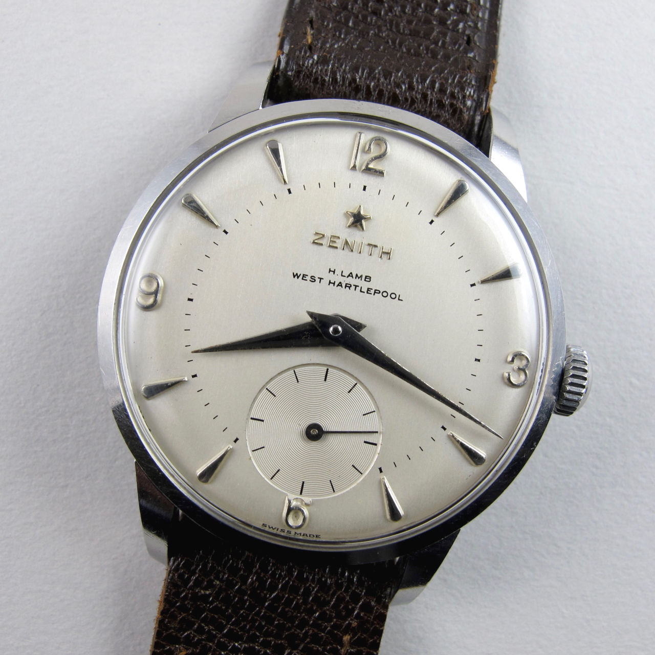 Zenith Sporto retailed by H. Lamb, West Hartlepool, steel vintage wristwatch, circa 1959