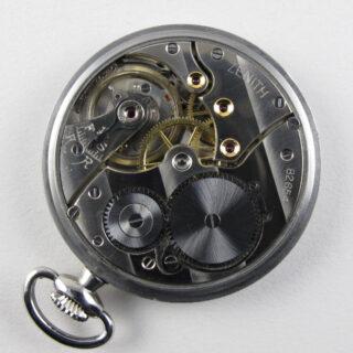 Zenith steel vintage pocket watch, circa 1935-1940